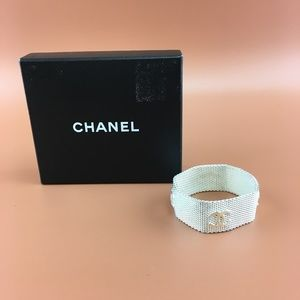 Preowned Chanel CC Mesh Wide Chain Bracelet